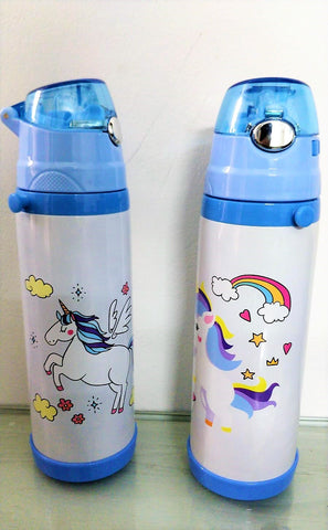 Unicorn Print Stainless steel bottle with straw/ Gym Bottle/ School bottle for kids - 500 ml