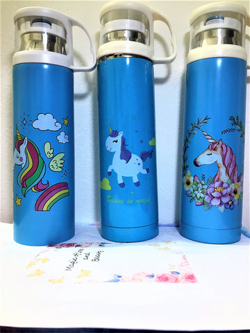 Unicorn Print Stainless steel bottle with a cup/ Gym Bottle/ School bottle for kids - 500 ml-Bottles-You and Gifts