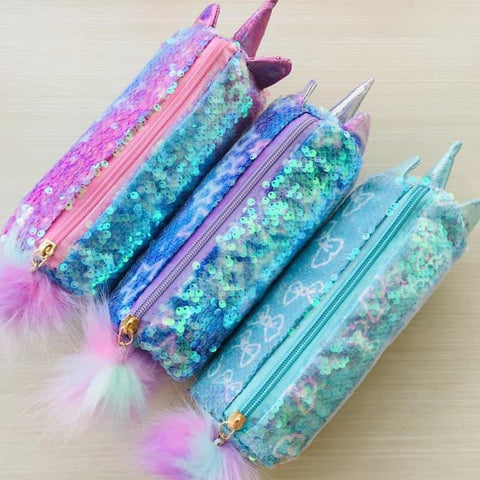 Sequinned Unicorn multipurpose Pouch