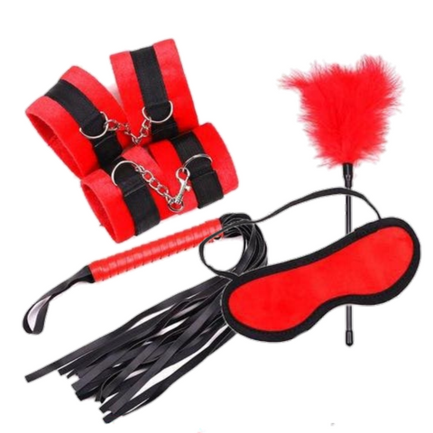 Red Velvet Milanoo Bondage set feather flogger and red cuffs