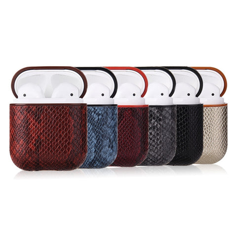 Snake Skin Leather Case For AirPods - Slick3d