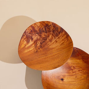 Pair of Hand Carved Wooden Wave Plates