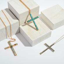Load image into Gallery viewer, Turquoise Cross Pendent Long Necklace