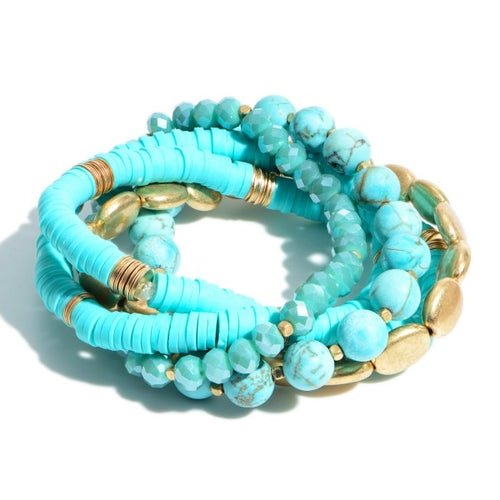 Turquoise rubber+beaded stack bracelet