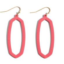 Load image into Gallery viewer, Coral Coated Oblong Drop Earrings