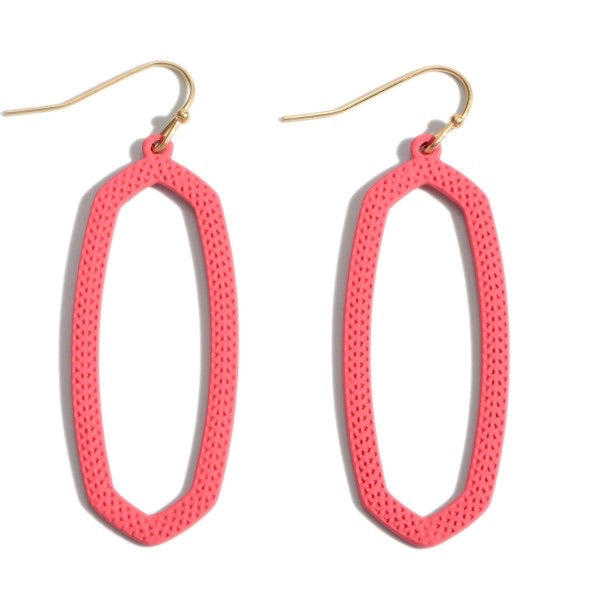 Coral Coated Oblong Drop Earrings