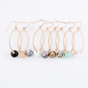 Semi Precious Ball Drop Earrings.