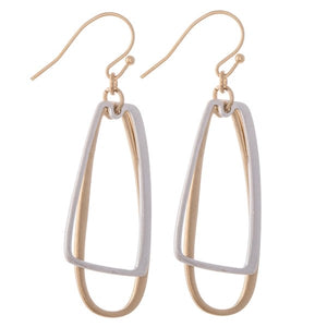 Gold/Silver Two Tone Geometric Dangle Drop Earrings.