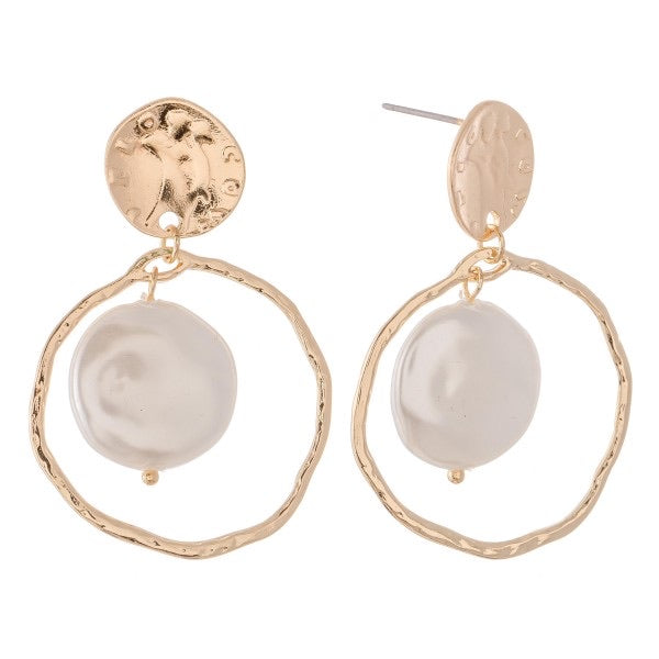 Gold Faux Freshwater Pearl Nested Drop Earrings