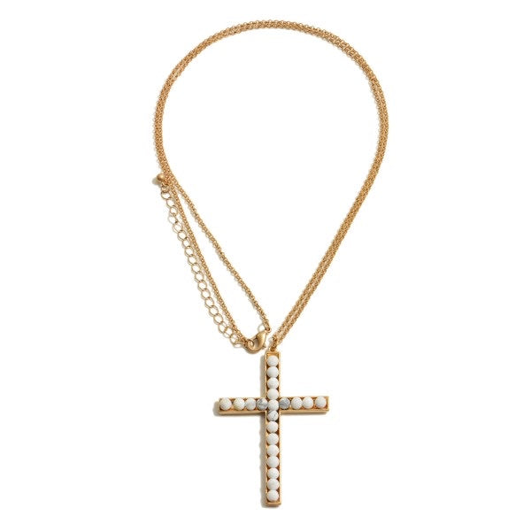 White Cross Pendent Long Necklace
