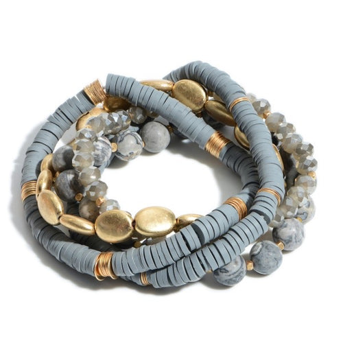 Gray rubber+beaded stack bracelet