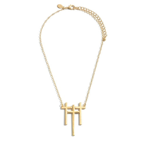 Gold Triple Cross Pendent Necklace