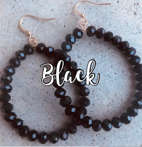 BEADED BLACK HOOP EARRINGS