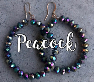 BEADED PEACOCK HOOP EARRINGS