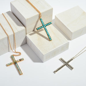 Mint Cross Pendent Long Necklace