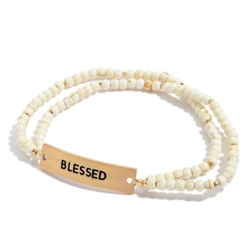 Natural Stone Beaded Double Stranded Blessed Stretch Bracelet