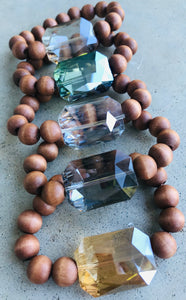 Wood beaded bracelet with CLEAR crystal