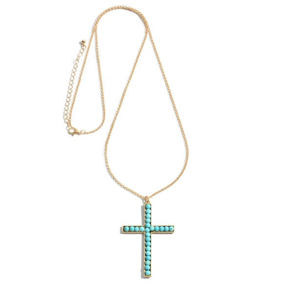 Turquoise Cross Pendent Long Necklace