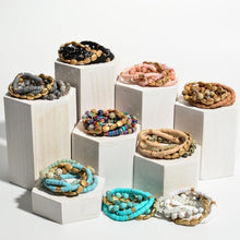 Load image into Gallery viewer, Turquoise rubber+beaded stack bracelet
