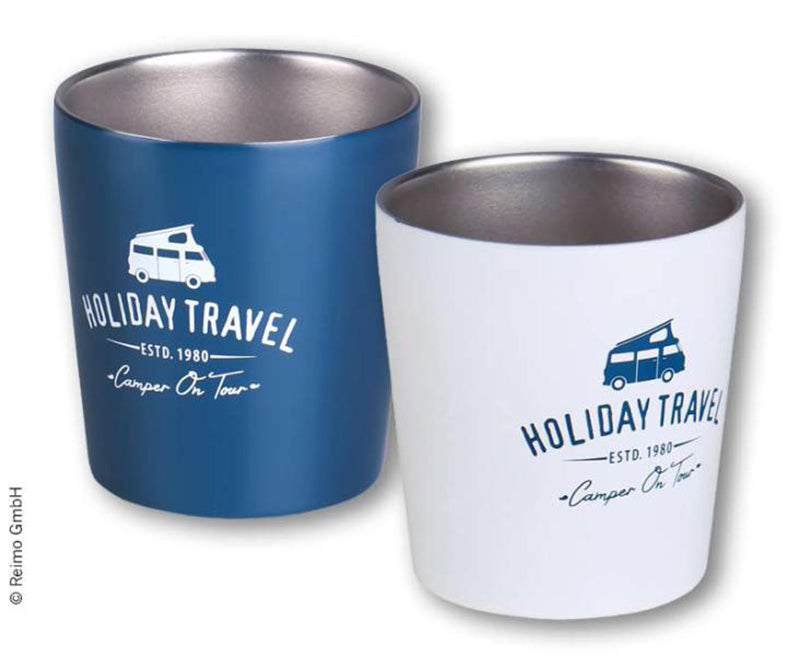 Stainless Steel Holiday Travel Coffee Mugs 2PC