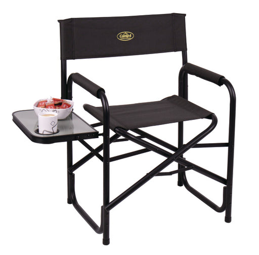 Director's Camping Chair Maxi de Luxe black, Folding, with side table