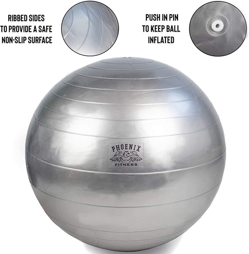 Fitness Ball Unisex Exercise Ball With Pump Grey