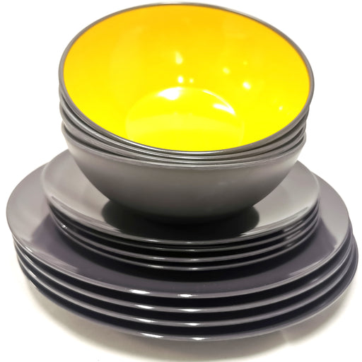 Gimex Tableware Melamine Dinner Set Yellow Grey 12 pcs