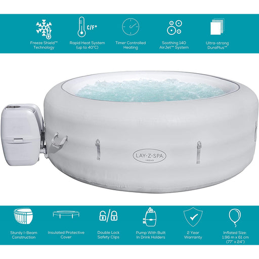 Lay-Z-Spa Vegas Hot Tub 4-6 Person Inflatable Spa Freeze Shield Technology