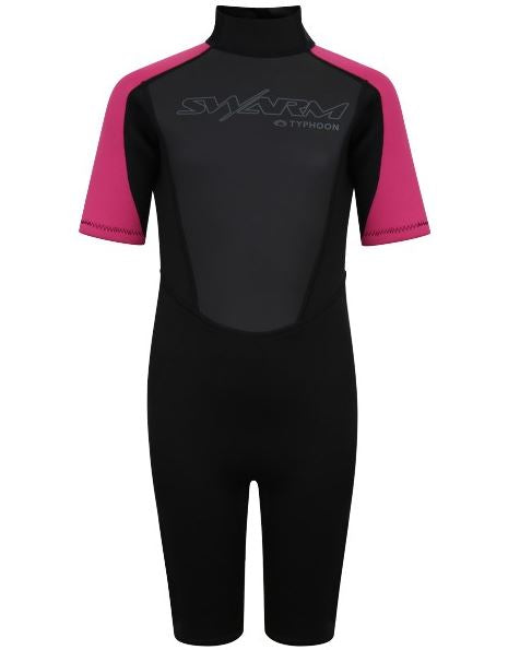 Typhoon Swarm3 Shorty Wetsuit Youth Black Pink