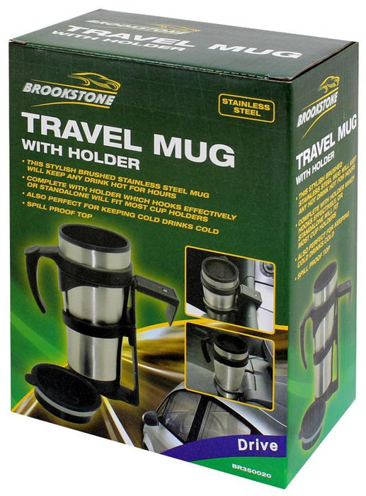 Brookstone Stainless Steel Travel Mug (With Holder and Safetight Lid)