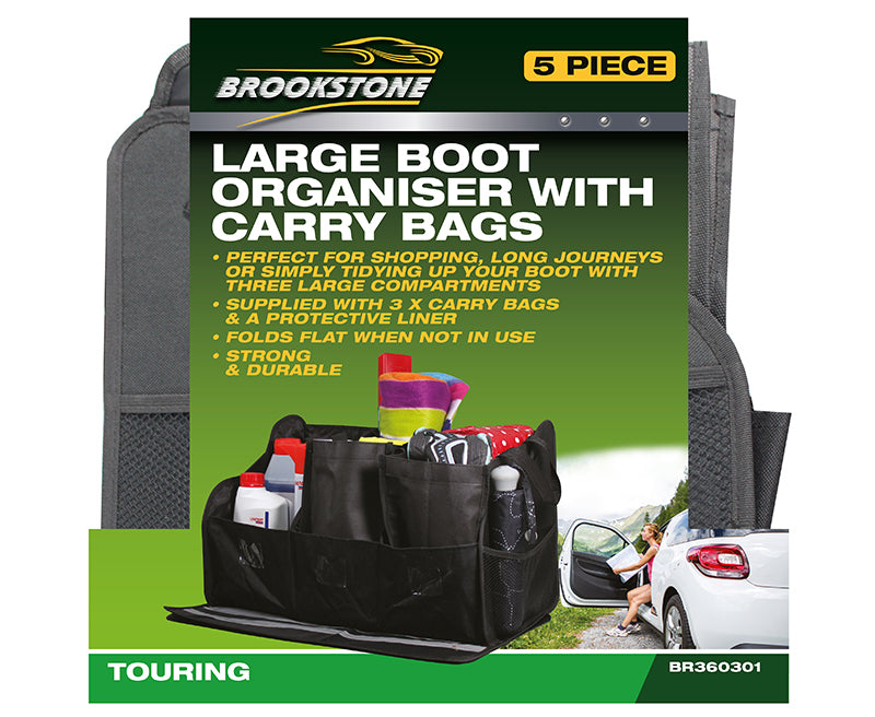 Large Boot Organiser With Carry Bags - Brookstone
