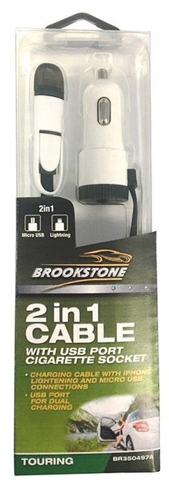 Brookstone 2in1 Cable With USB Socket