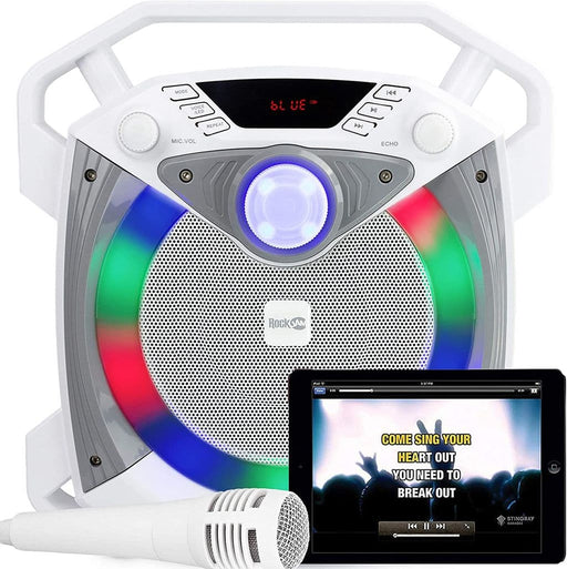 White Bluetooth Karaoke Speaker LED Disco Light Microphone