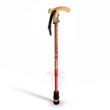 Load image into Gallery viewer, Flexyfoot Premium Cork Handle Walking Stick - Red