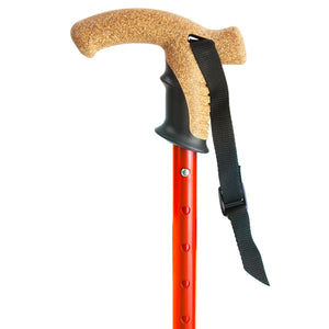 Flexyfoot Premium Cork Handle Walking Stick - Red