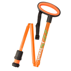 Flexyfoot Premium Oval Handle Folding Walking Stick - Orange