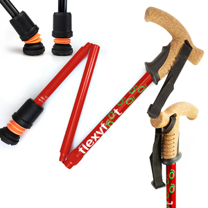 Flexyfoot Premium Cork Handle Folding Walking Stick - Red