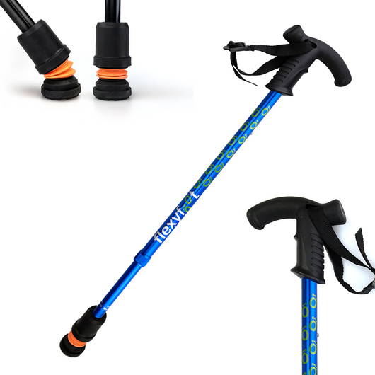 Flexyfoot Premium Derby Handle Walking Stick - Blue
