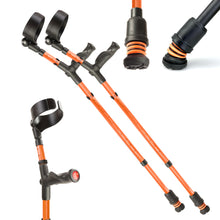 Load image into Gallery viewer, Flexyfoot Comfort Grip Double Adjustable Crutches - Orange