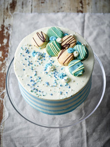 Blue Candy Stripe Gateau - Patisserie Valerie