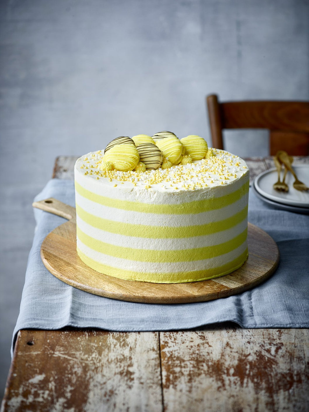 Lemon Candy Stripe Gateau - Patisserie Valerie