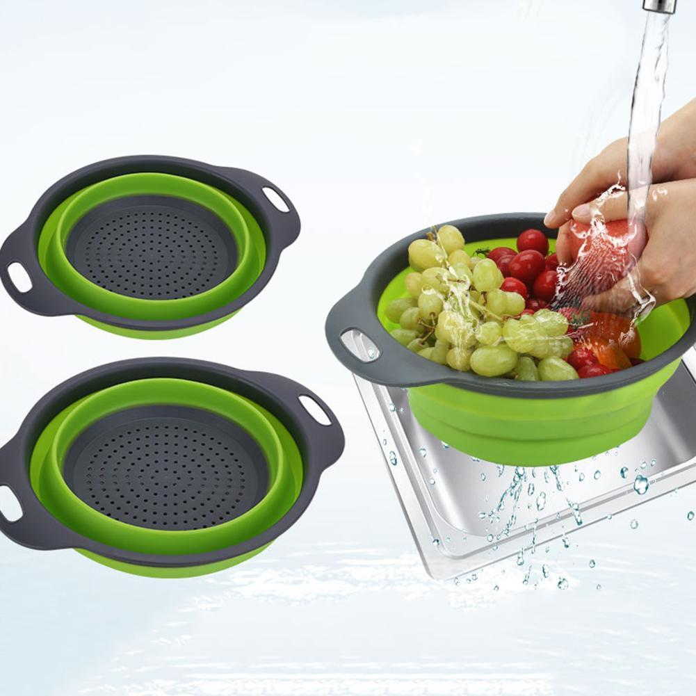 Folding Vegetable Fruit Washing Basket Drain Strainer Colander Kitchen Utensil Accessories