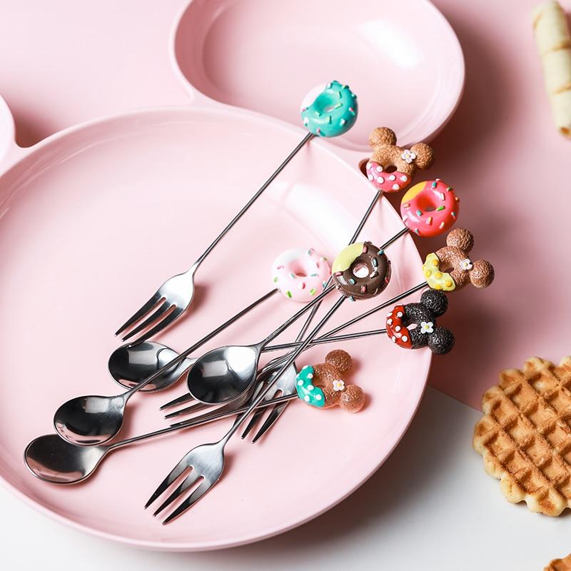 Cute Mickey Donut Candy Color Cartoon Stainless Steel Ice Cream Fruit Coffee Fork  Spoon Teaspoon Kitchen Supplies Tableware
