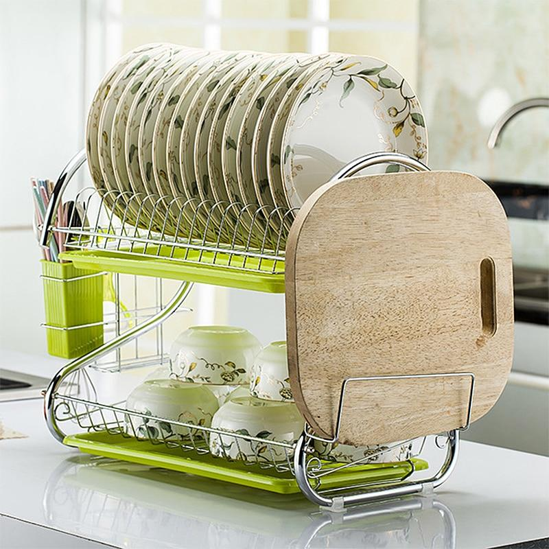 Stainless steel dish rack drain rack kitchen supplies to dry dishes dishes storage racks dishes kitchen utensils table racks