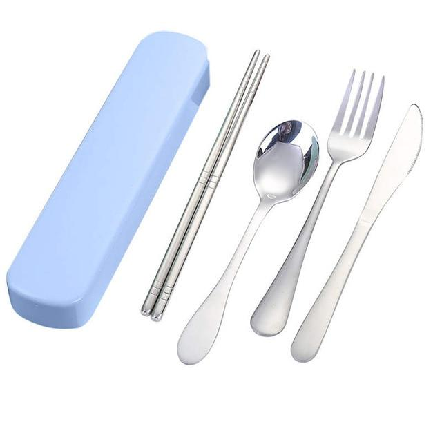 High Quality  4 Pcs Portable Chopsticks Fork Spoon Knife Travel Cutlery Set Eating Tool Product selling Household Standby 19APR9