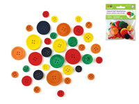 CRAFT COLORED WOOD BUTTONS ASSORTED 40pc - Unusual Finds Discount Store