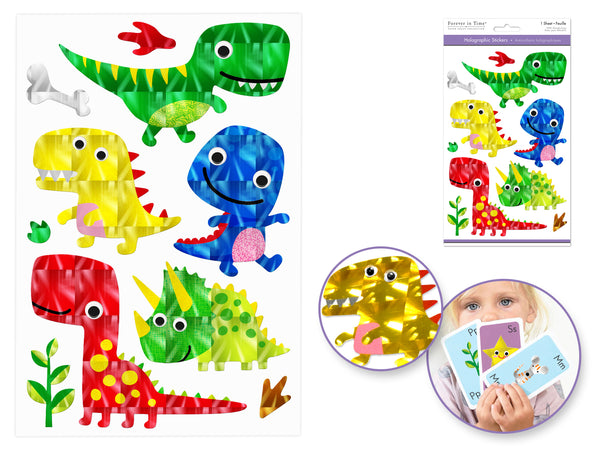 DINOSAUR HOLOGRAPHIC STICKERS WITH GOOGLY EYES - Unusual Finds Discount Store