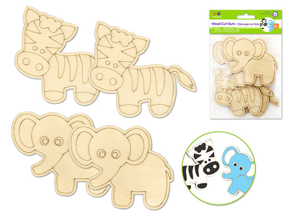 WOOD CUT OUT LASER ETCH SAFARI PALS 4pk - Unusual Finds Discount Store