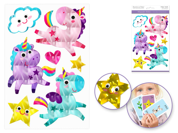 UNICORN HOLOGRAPHIC STICKERS WITH GOOGLY EYES - Unusual Finds Discount Store