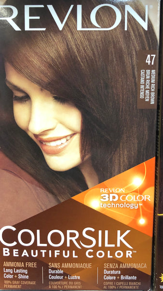 REVLON COLORSILK PERMANENT HAIR DYE 47 MEDIUM RICH BROWN - Unusual Finds Discount Store
